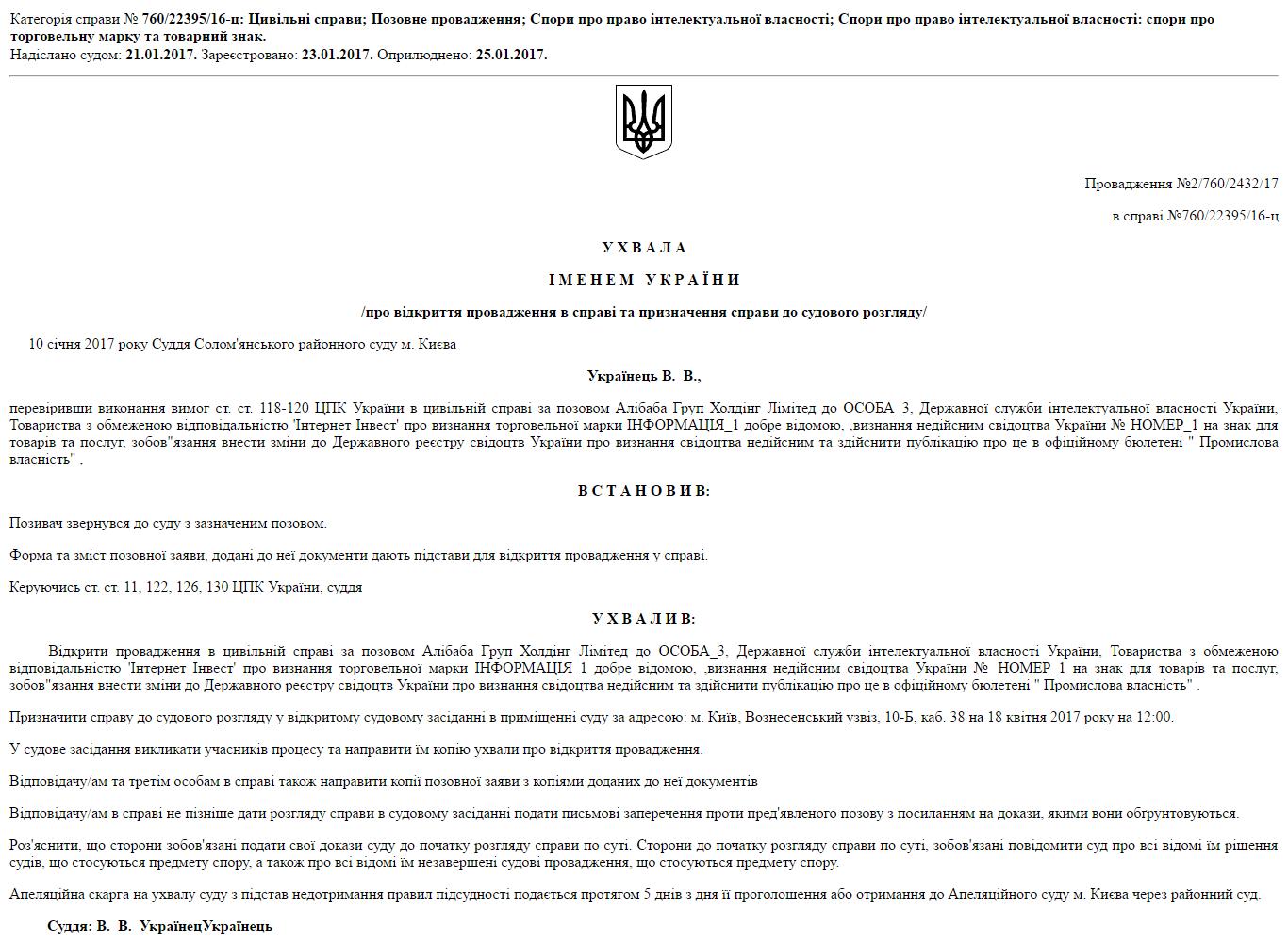 Ухвала іменем України щодо AliExpress