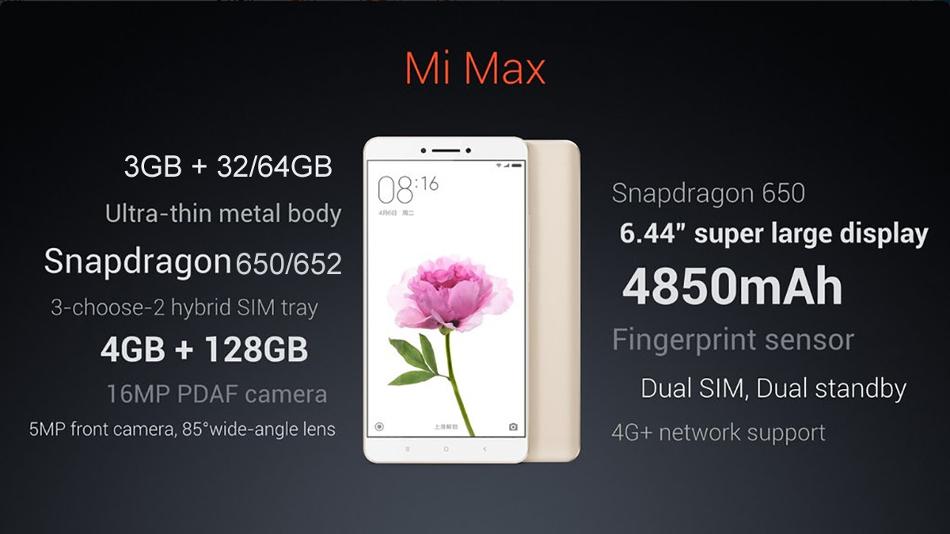 Характеристики Mi Max