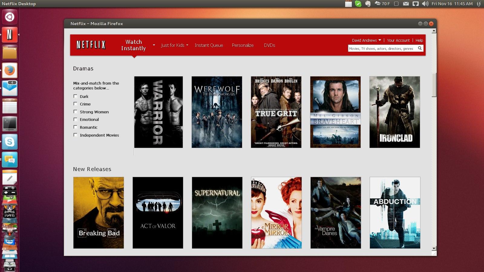 Ubuntu Linux - Firefox - Netflix