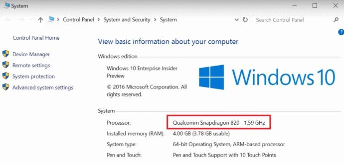 Windows 10 - Qualcomm Snapdragon 820