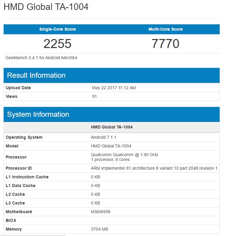 Nokia 9 / Geekbench 4 / Snapdragon 835
