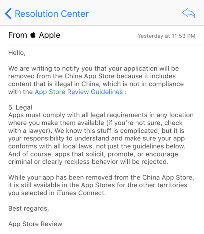 Лист від App Store
