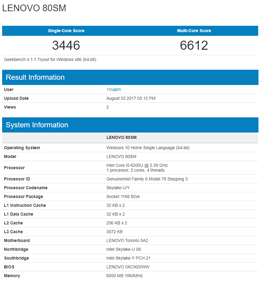 Intel Core i5-6200U (GeekBench 4)