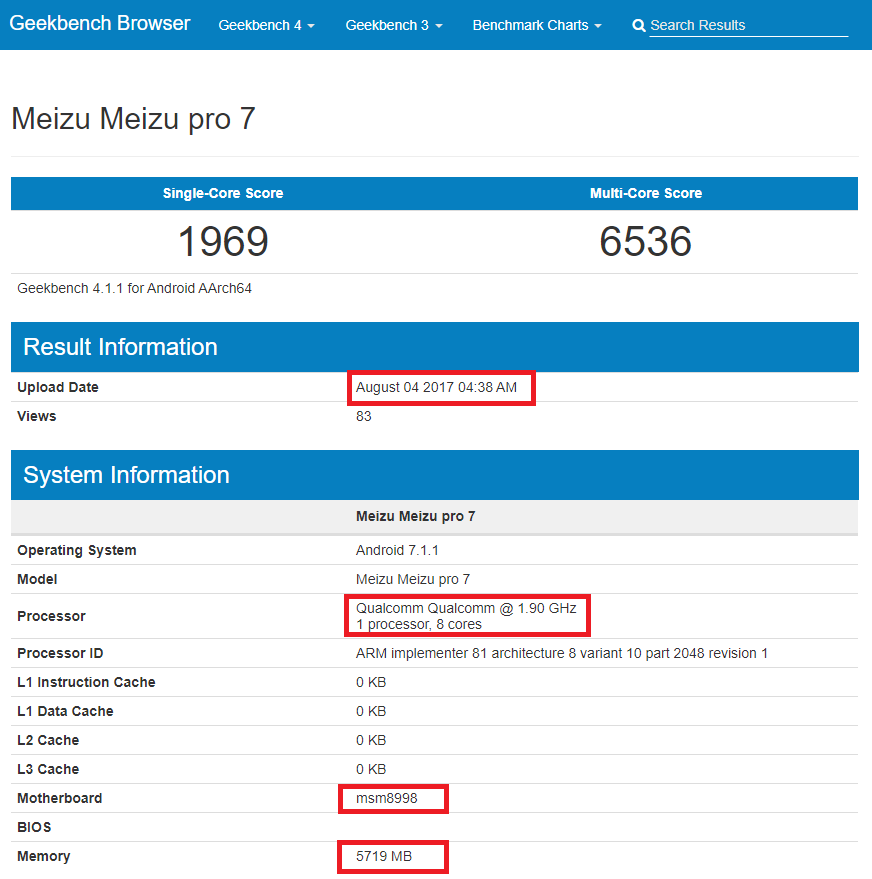 Meizu Pro 7 - Geekbench 4 - Qualcomm Snapdragon 835
