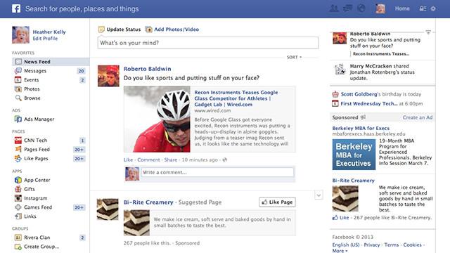 Дві стрічки новин в Facebook