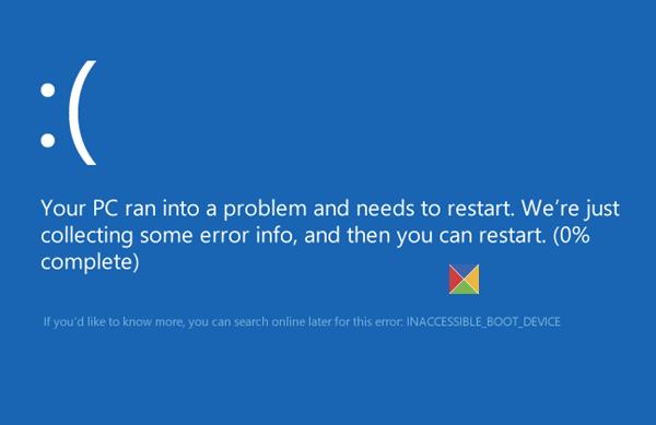 Помилка INACCESSIBLE BOOT DEVICE в Windows 10