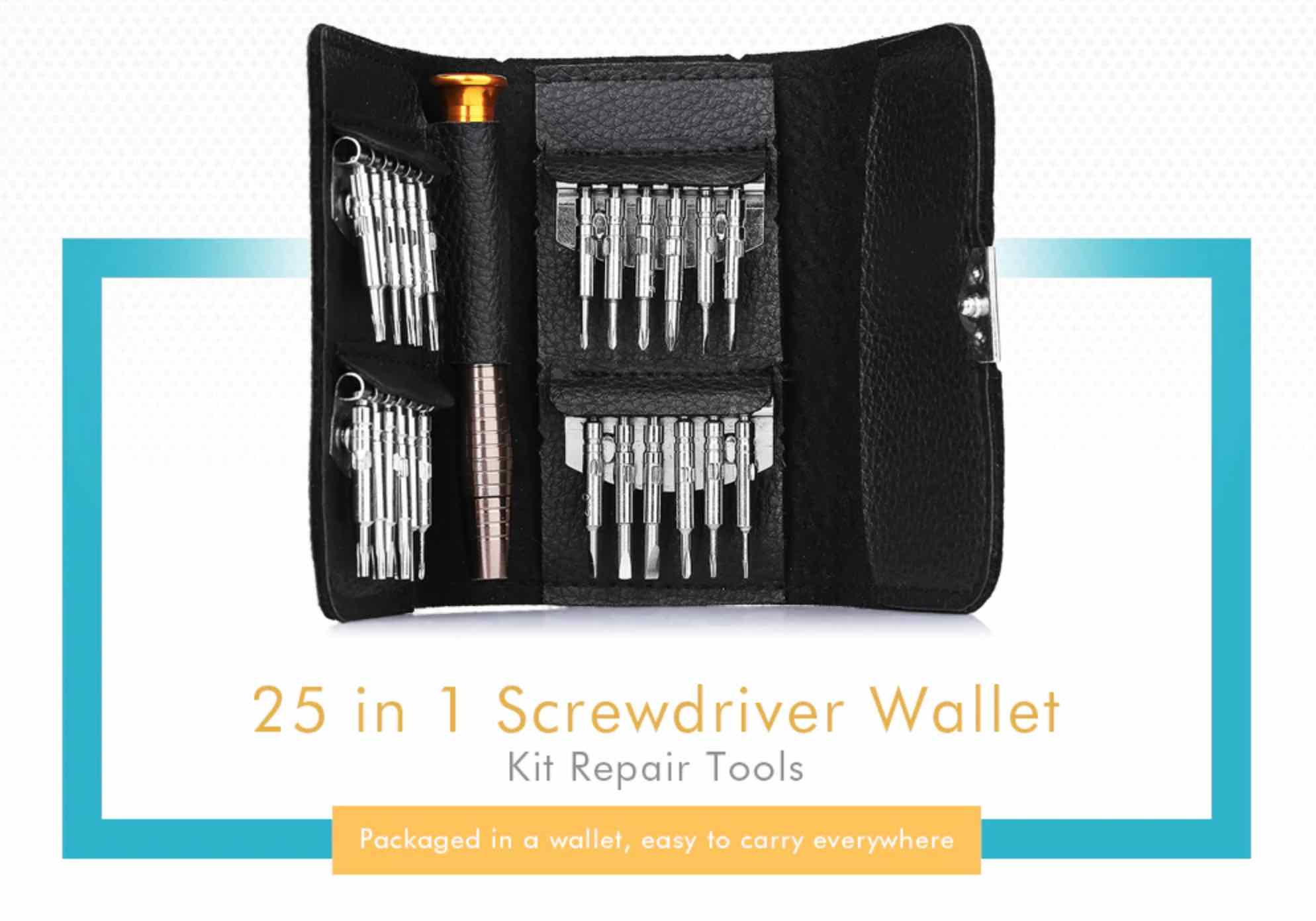 GearBest: 25 in 1 Screwdriver Wallet Kit Repair Tools