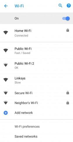 Wi-Fi Android 8.1 Oreo