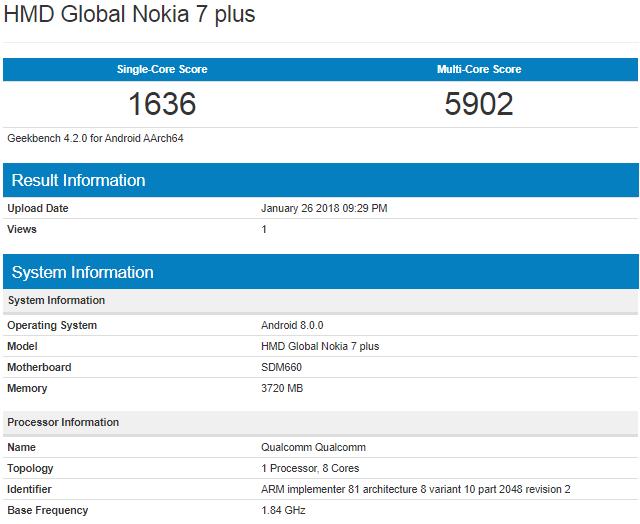 Geekbench: Nokia 7 Plus