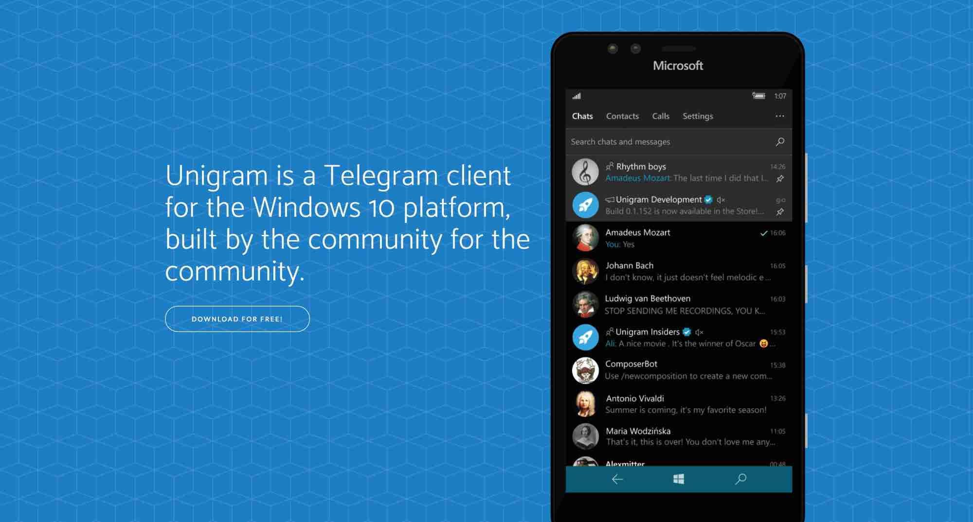 Unigram X для Windows 10 Mobile