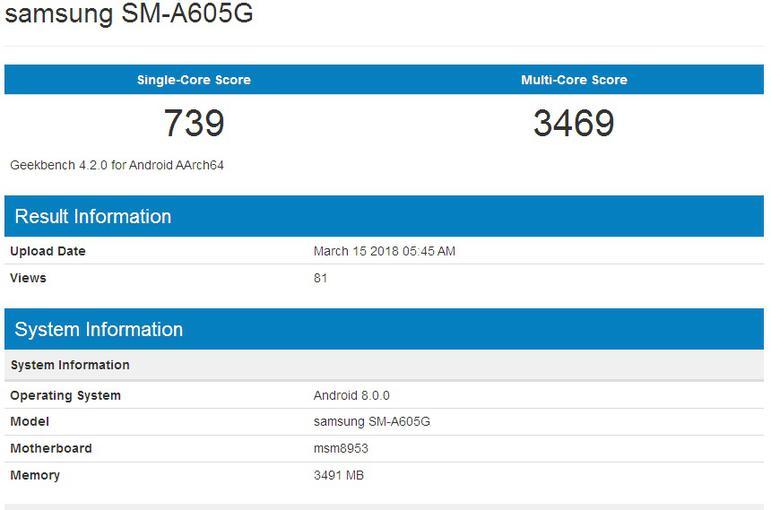 Samsung Galaxy A6 Plus geekbench