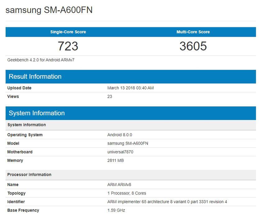 Samsung Galaxy A6 geekbench