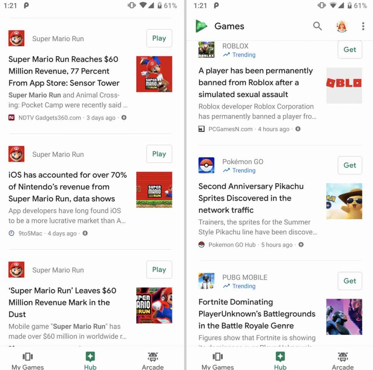 Google Play Games Hub
