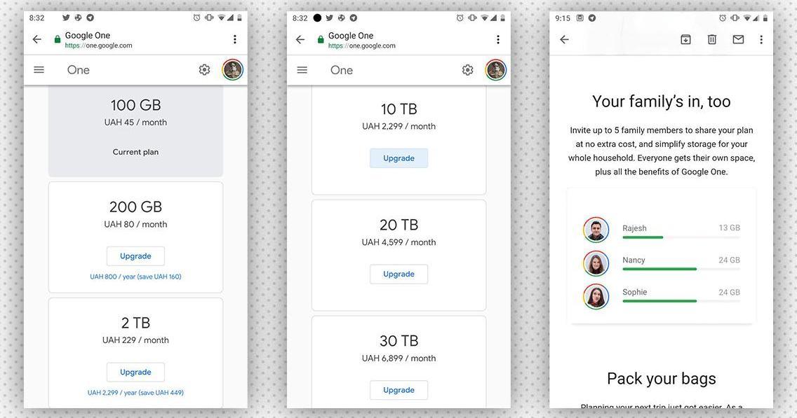 Українці отримали нові тарифи для Google One