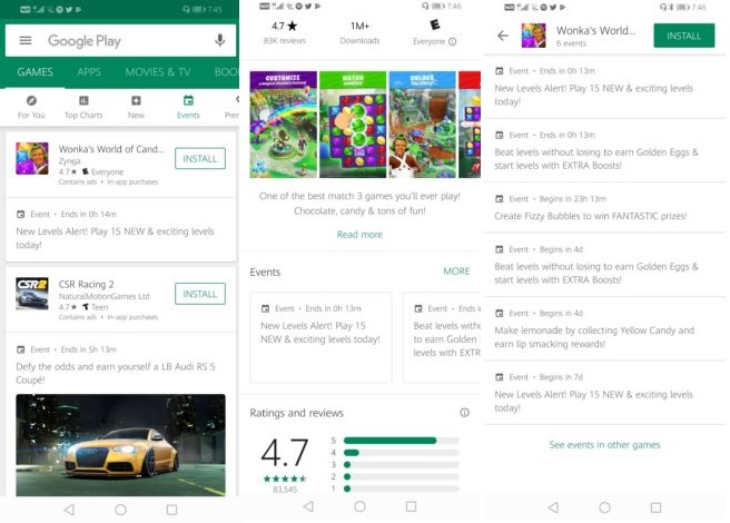 Google Play отримав спеціальну вкладку для ігрових подій
