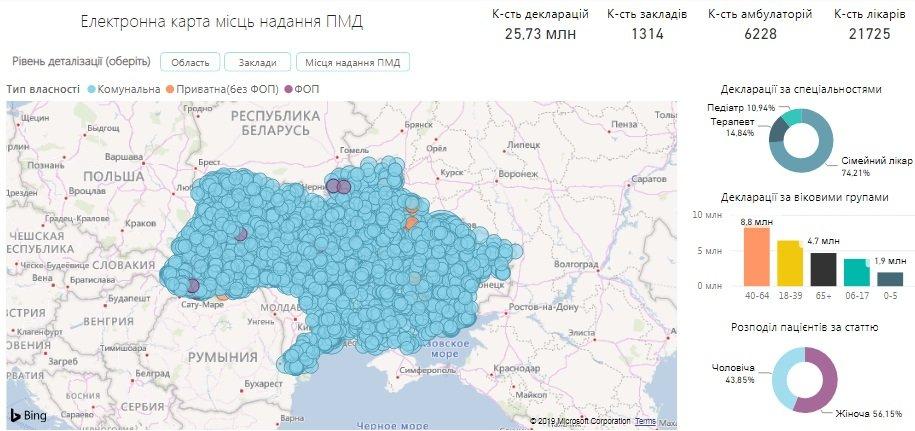В Україні з'явилася електронна карта для пошуку медзакладів