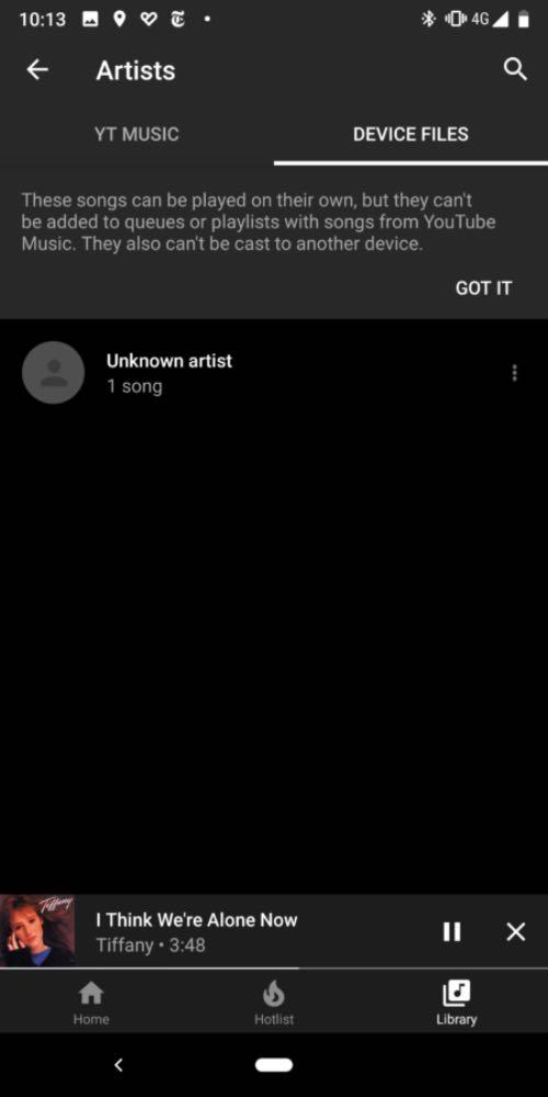YouTube Music відтворюватиме збережену музику на смартфоні