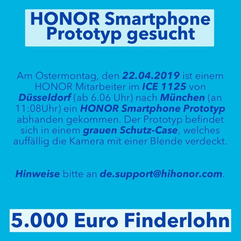 Honor загубив прототип смартфона і обіцяє винагороду за повернення