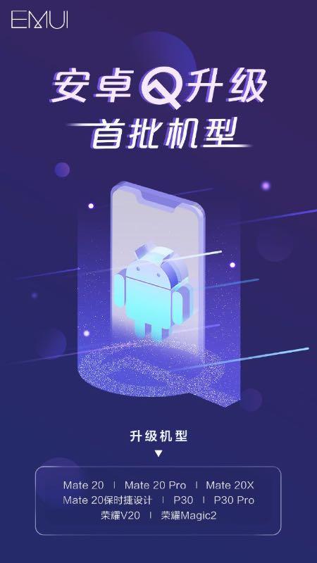 Huawei опублікував перелік смартфонів, які отримають Android 10 Q