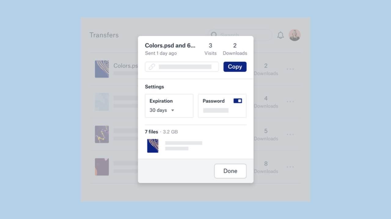 Dropbox Transfer дозволяє передавати до 100 Гб файлів