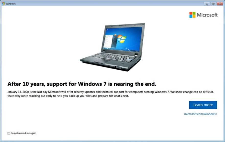 Microsoft почав нагадувати про припинення підтримки Windows 7