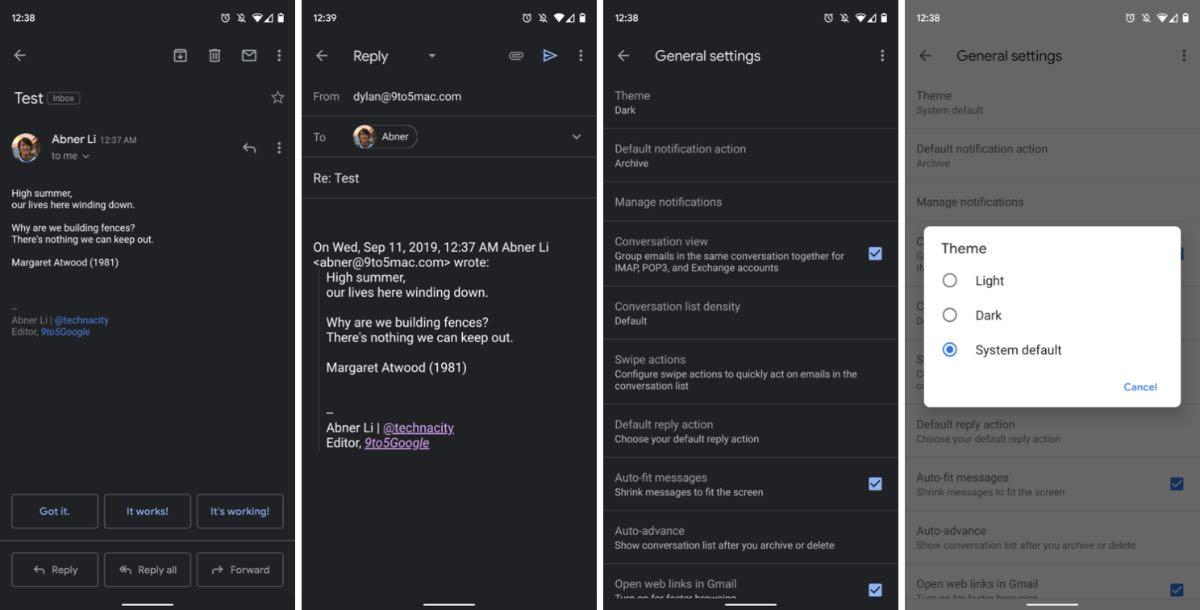 Gmail для Android отримав темну тему