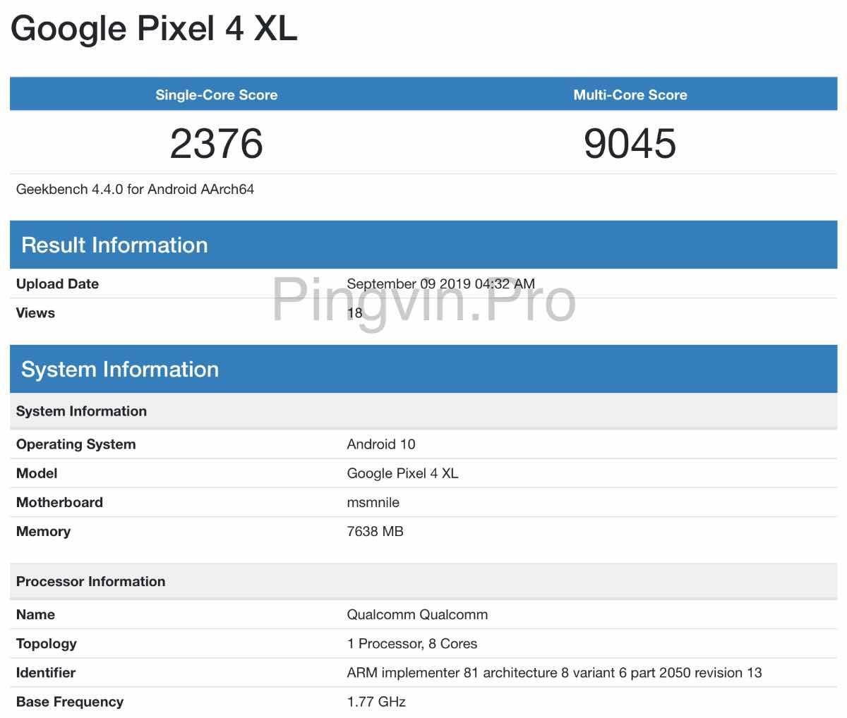 Google Pixel 4 XL було помічено в базі Geekbench