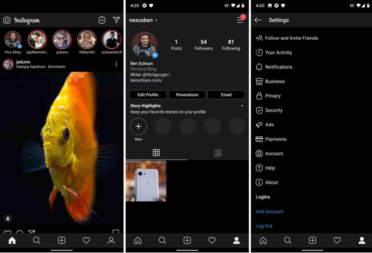 Instagram для Android отримав темну тему