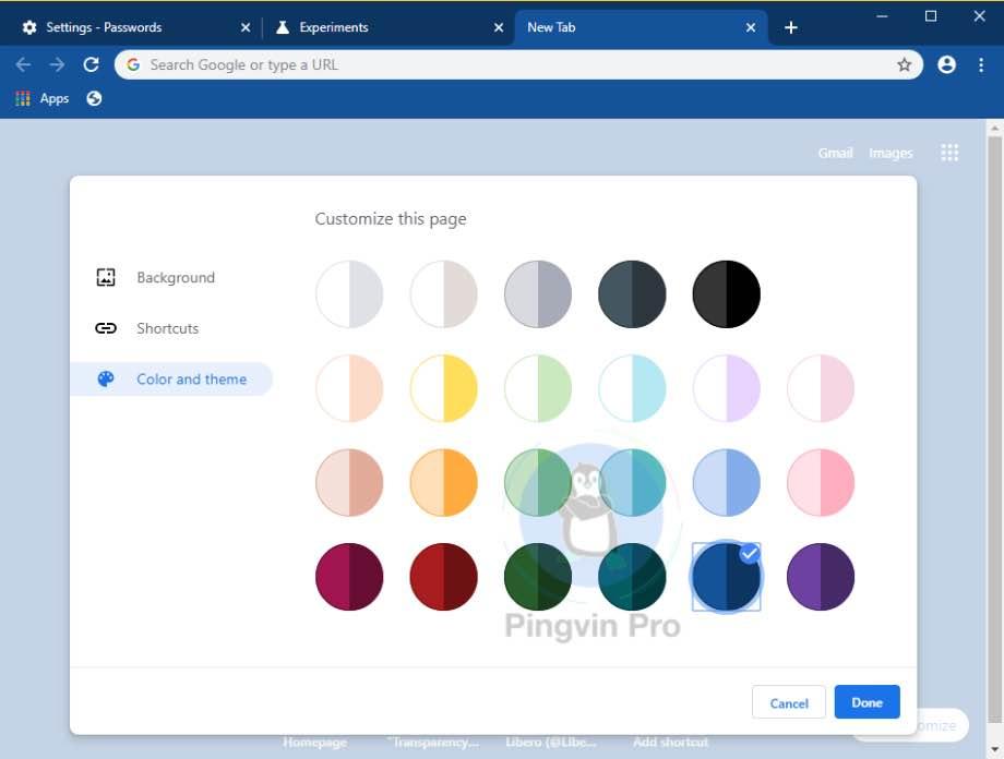 Google Chrome 78 кольорові теми