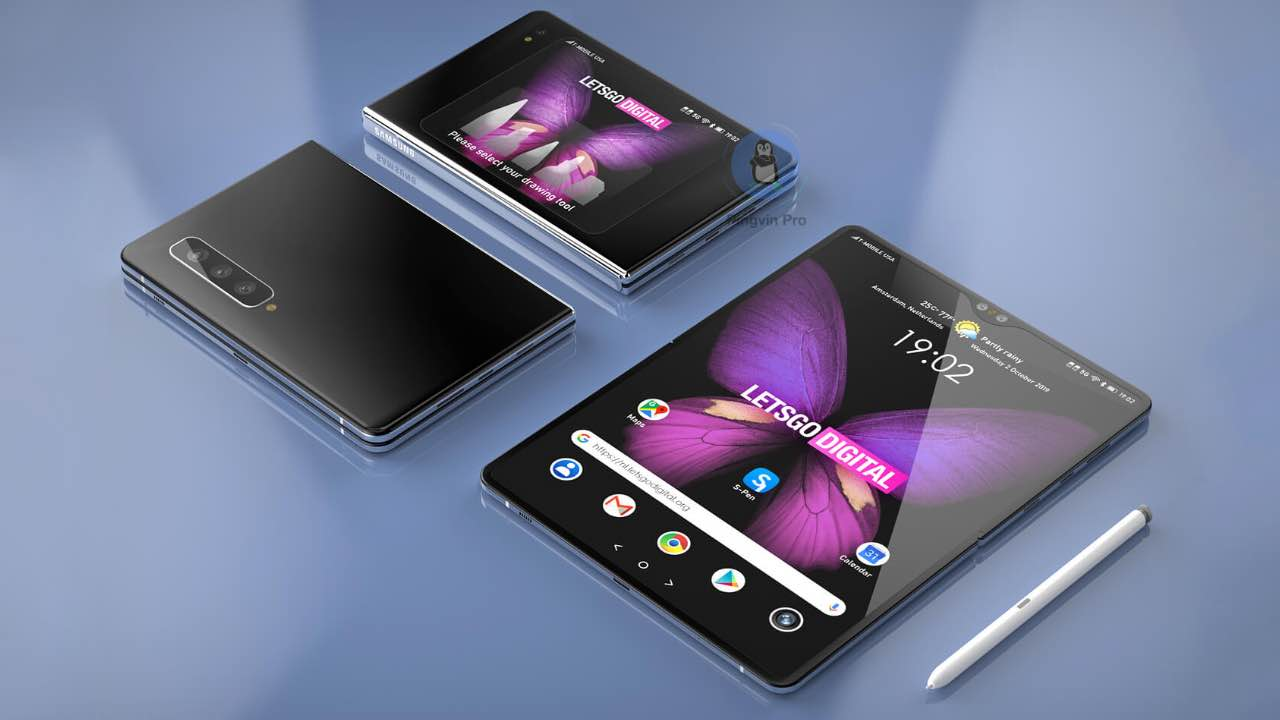3D рендер Samsung Galaxy Note Fold з S Pen