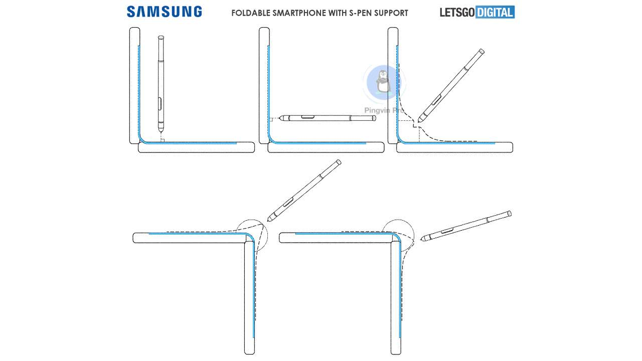 Патент Samsung Galaxy Note Fold з S Pen