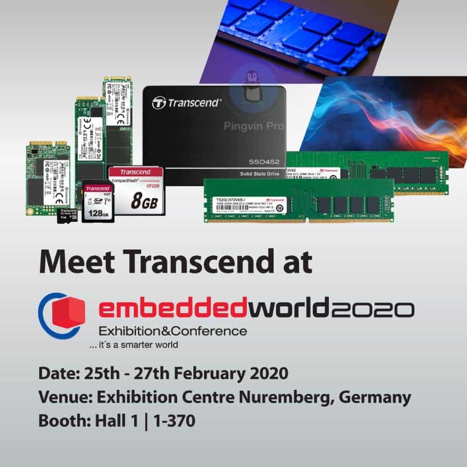 Transcend продемонструє свої вбудовані рішення на виставці Embedded World 2020