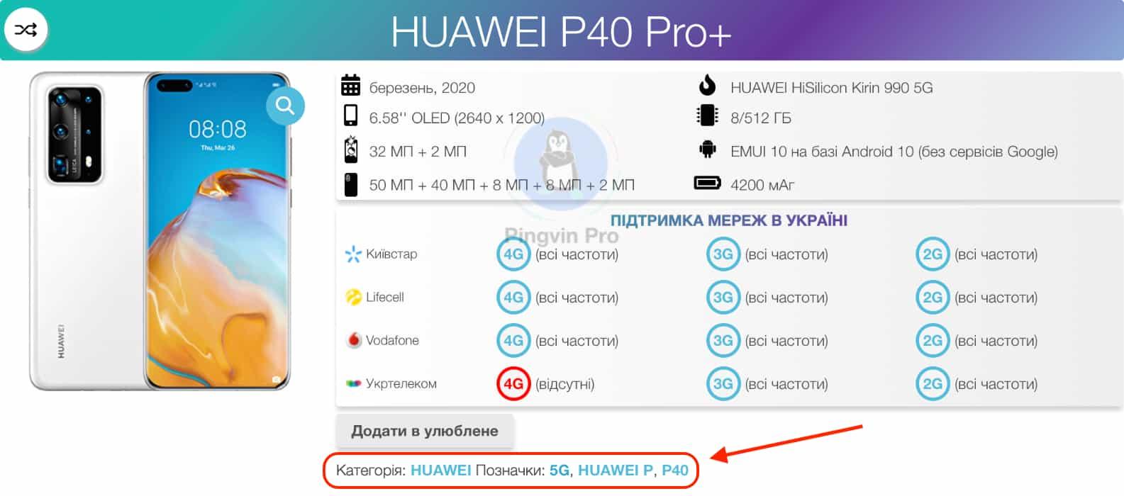 Pingvin Pro - база смартфонів - позначки