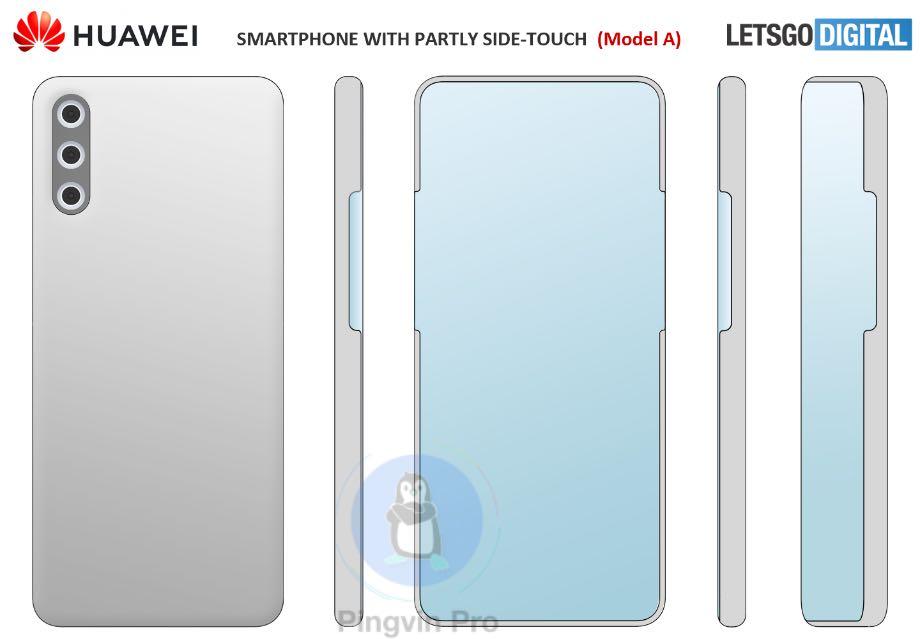 Huawei запатентувала смартфон з підекранною камерою і незвичним дисплеєм