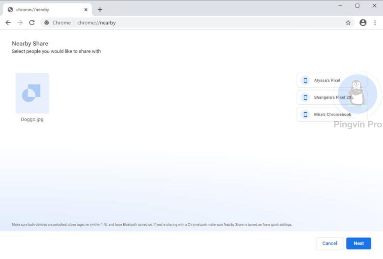 Функція передачі файлів Google Nearby Sharing з'явилася у Chrome