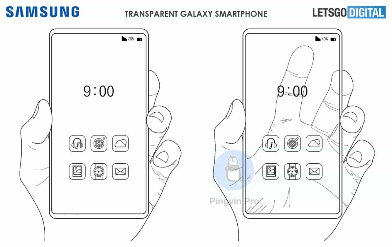 Samsung прозорий смартфон патент