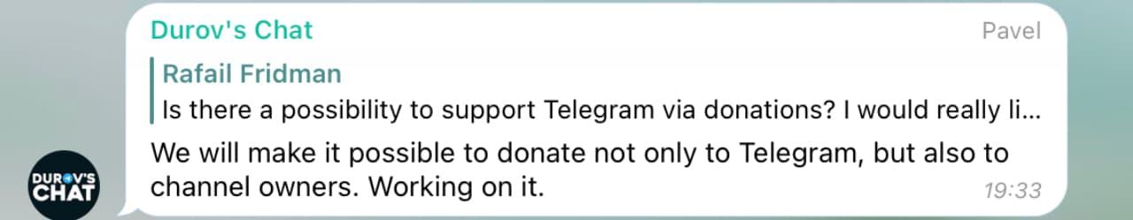 В месенджері Telegram з'являться донати