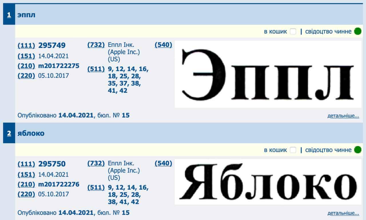 Apple зареєструвала в Україні нові торгові марки російською мовою