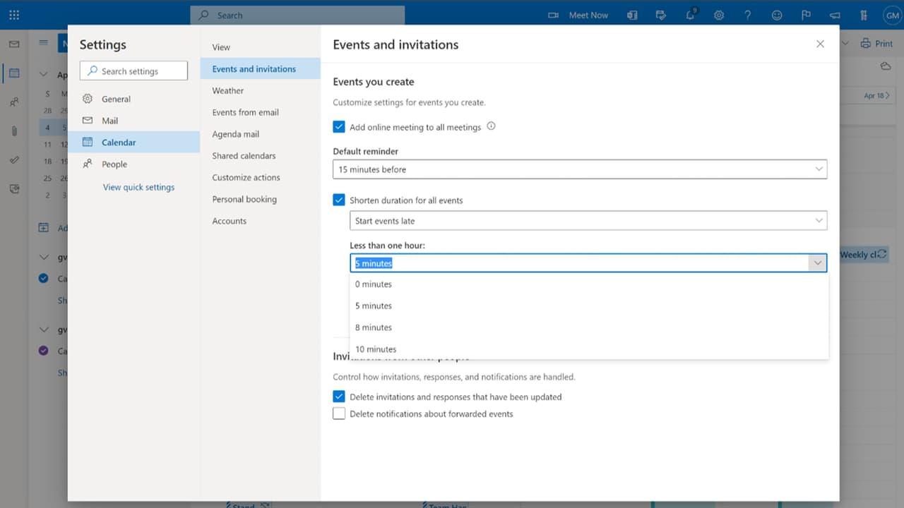 Microsoft Outlook - Календар - Налаштування