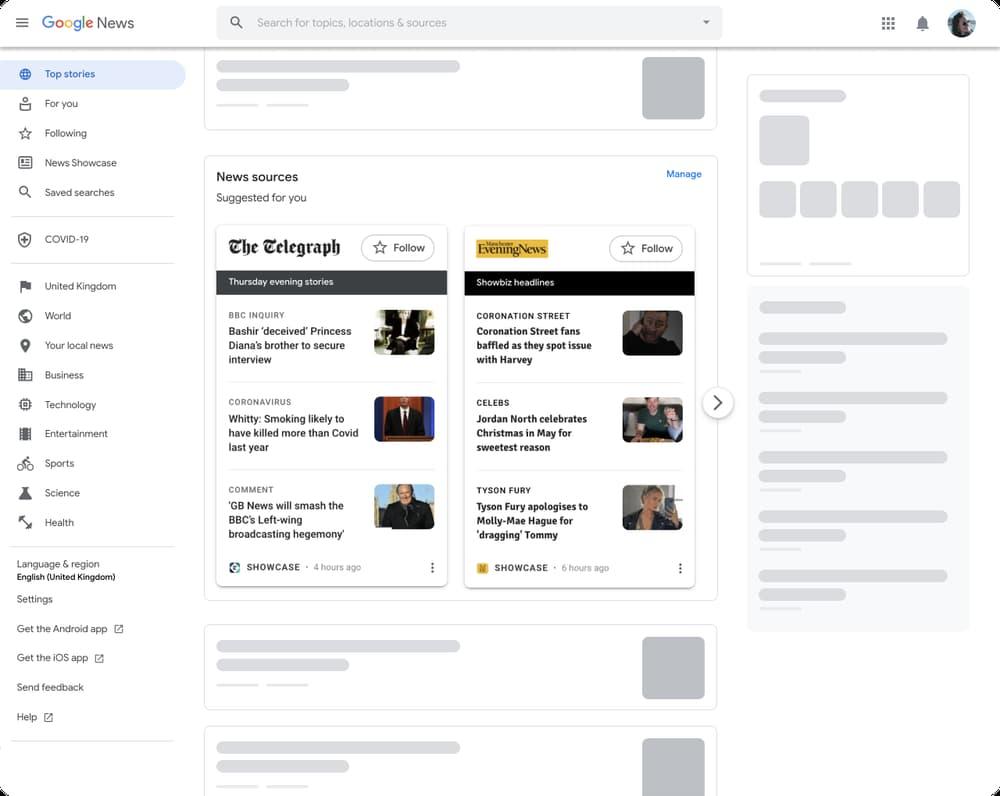 Google News Showcase PC