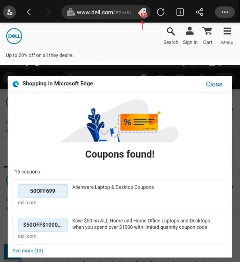 Microsoft Edge для Android допоможе зекономити на покупках в Інтернеті